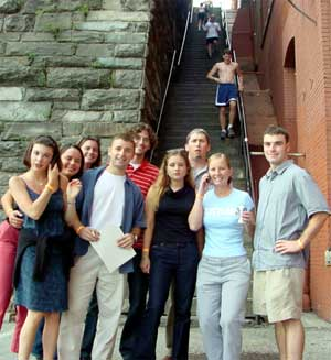 our group at the exorcist stairs in georgetown - you pick, which do you think she is?