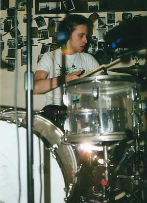 spring 2000 - recording lucky guns (one of the best bands known to mankind) on my beloved favorite drums (The vistalites) - god i love those drums...the cadalac is pulling out of the graveyard----get in....
